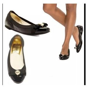 MICHAEL KORS black leather DIXIE ballet flat shoes